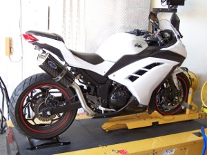 Kawasaki Ninja 300 exhaust - high mount carbon fiber muffler